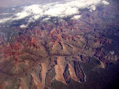 Grand Canyon as seen from flight between Phoenix and Seattle, photo by Robin Atkins