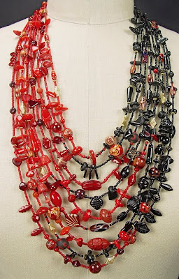 kimono necklace by Robin Atkins, blended red and black beads
