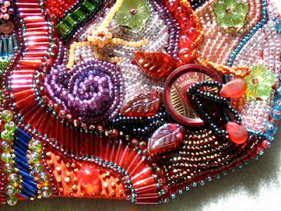 bead embroidery pouch by Mary Tod, detail