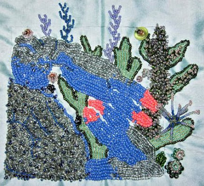 bead embroidery by Carolyn Everley, Blue Crab