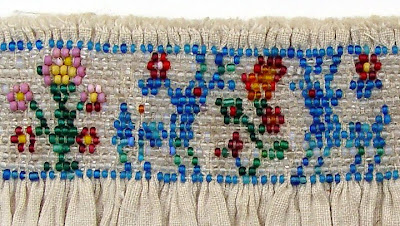 historical beadwork, smocking, shirring, pleatwork, deer and flowers design, Robin Atkins collection