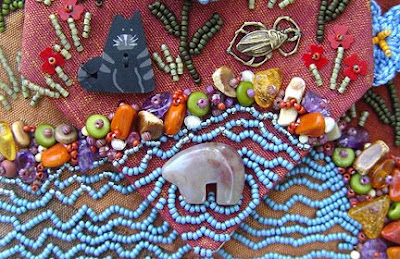 bead journal project, bead embroidery, Robin Atkins, July 09 BJP, detail