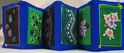 bead journal project, accordion book by Sandy J