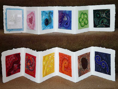 bead journal project, accordion book by Jann B