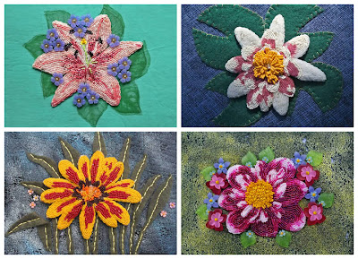 bead journal project, beaded flower pins by Jean U