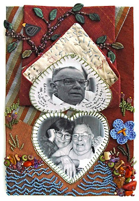 bead embroidery, bead journal project, dad's tie, by robin atkins