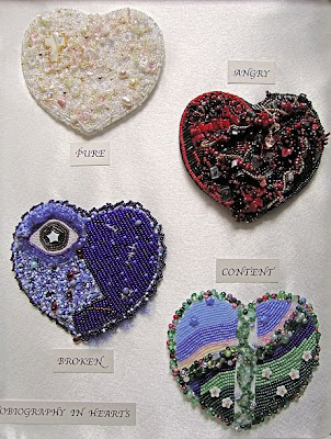 bead embroidery by Carmen, Autobiography in Four Hearts