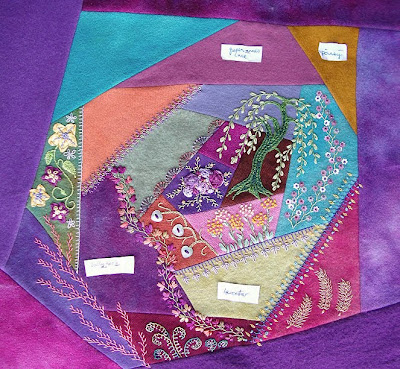 crazy quilt block by Pam Ehlers Stec, wool, thread and silk ribbon embroidery, in progress