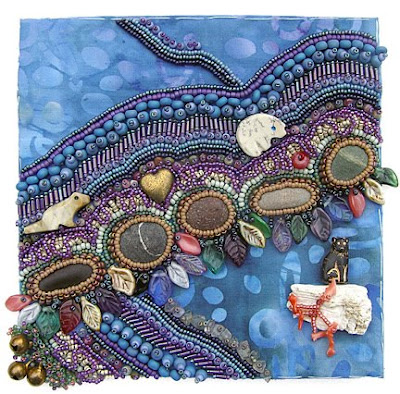 bead embroidery by Robin Atkins, piece in progress for Robert's box