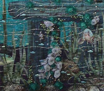 art quilt by Thom Atkins, Global Warming, bottom detail