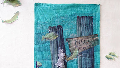 art quilt by Thom Atkins, Global Warming, fish detail