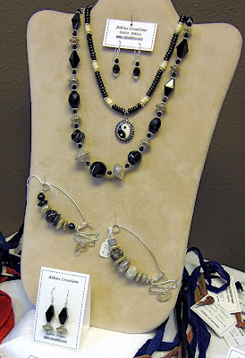 bead jewelry by Robin Atkins, vintage jet beads