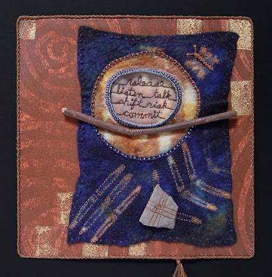 Robin Atkins, visual journaling on resist-dyed felt, bead journal project