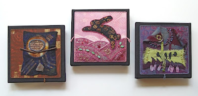 bead embroidery and collage by Robin Atkins, 3 pieces from 2010 bead journal project