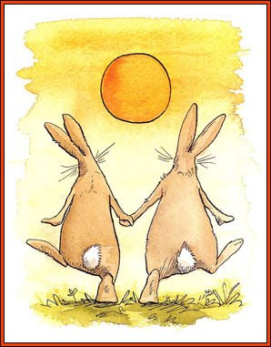rabbits dancing toward the sun