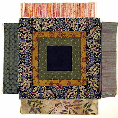 God's Eye quilt by Robin Atkins, auditioning fabrics 16