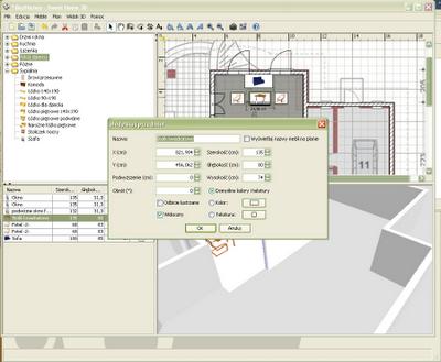 Zmiana właściwości elementów wyposażenia wnętrz - Sweet Home 3D