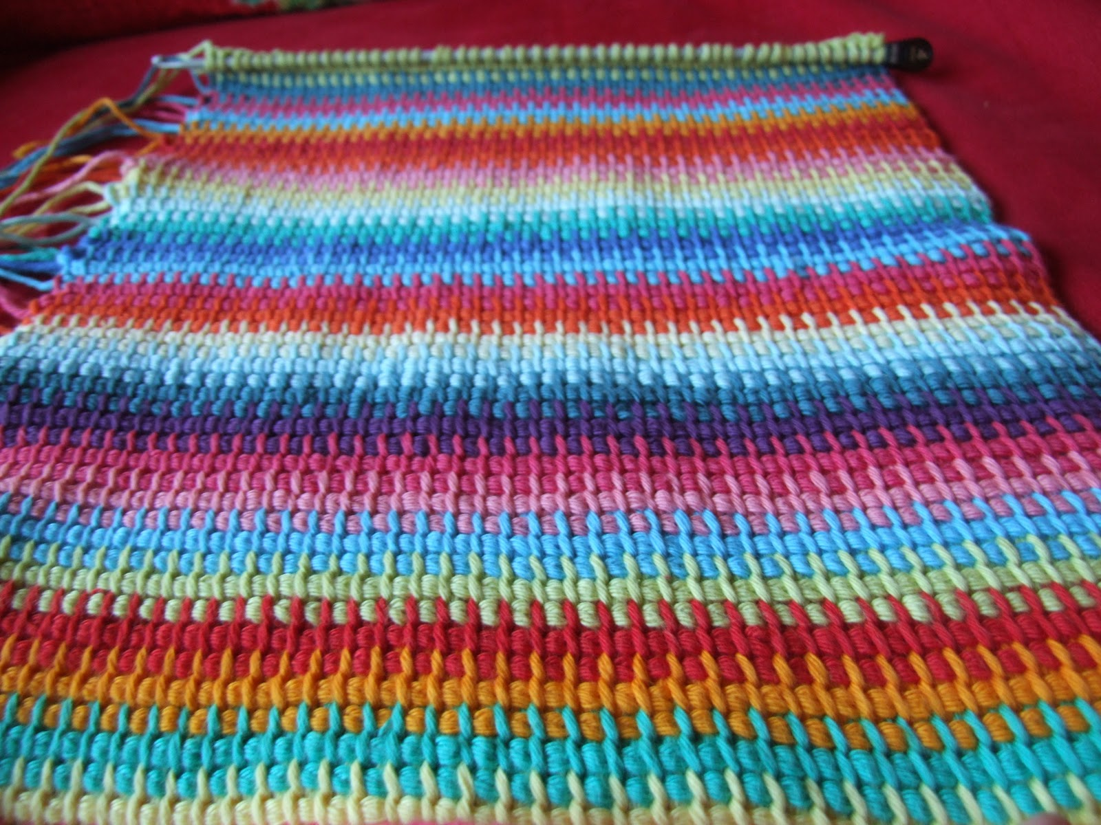 how to change colors mid row tunisian crochet