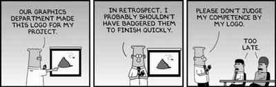 Dilbert, graphic design department rushed