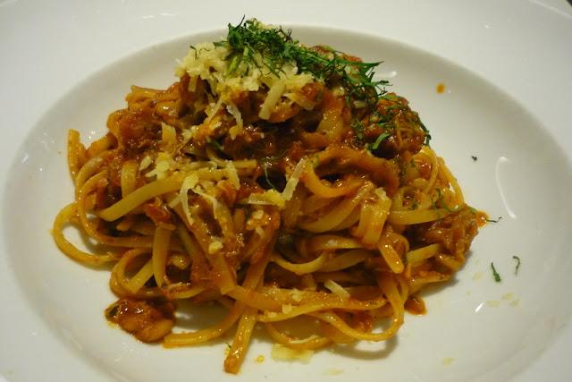Crabmeat Linguini, Pine Nuts, Tomatoes, Chilli