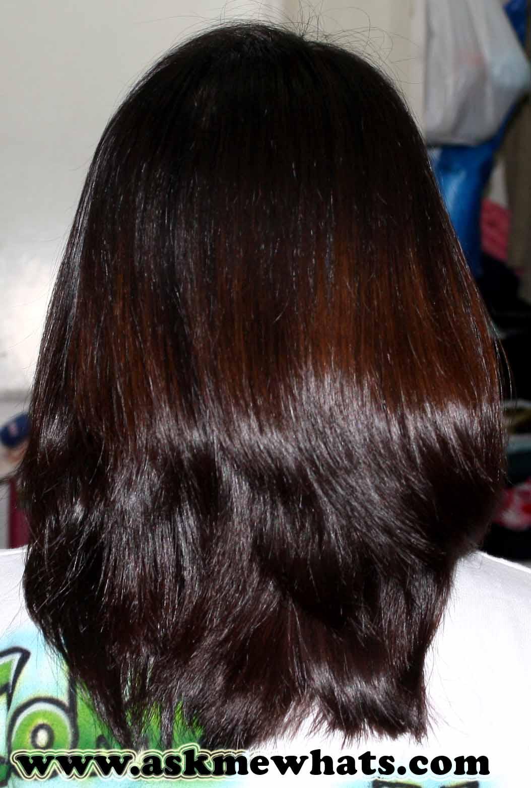 Medium straight hair back view
