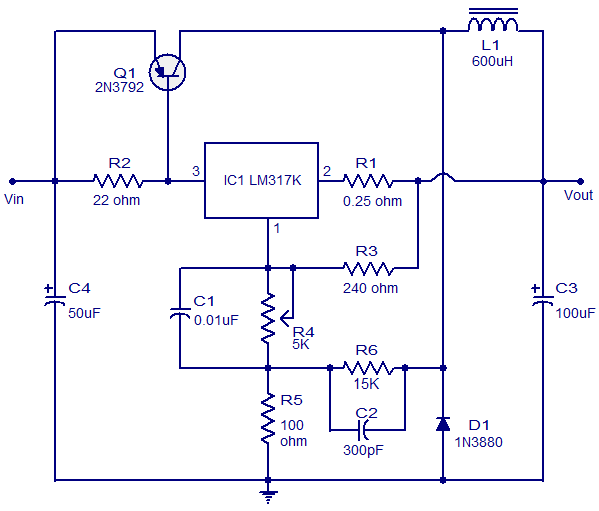 LM317K 3A Switching Regulator Circuit