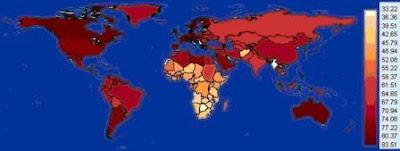 Esperanza de vida por países (2007)
