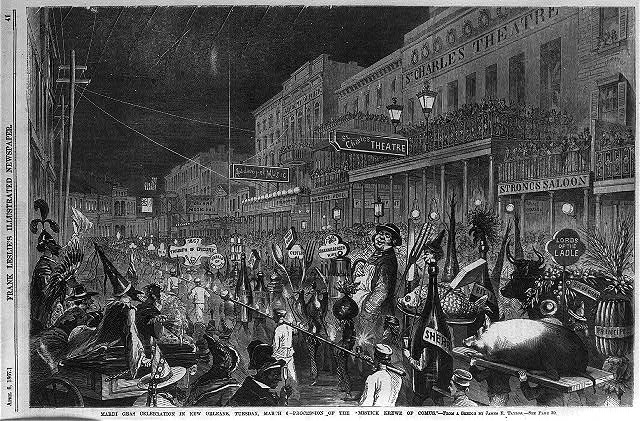 clip art new orleans. TITLE: Mardi Gras celebration in New Orleans, Tuesday, March 6 - Procession