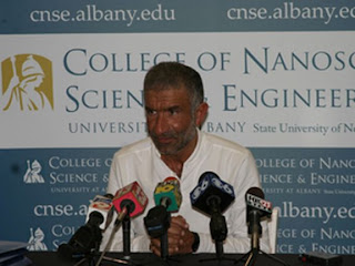 Dr. Alain E. Kaloyeros, CNSE Vice President and Chief Administrative Officer, speaks to the media about the location of International SEMATECH's headquarters at the College of Nanoscale Science and Engineering.