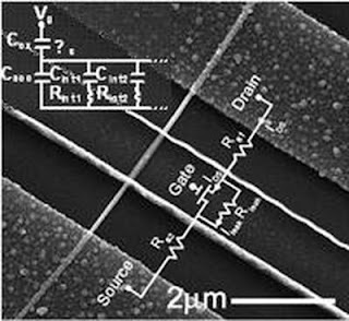 FE-SEM image of an InAs nanowire field effect transistor. Insets are the DC equivalent circuits with parasitic components.