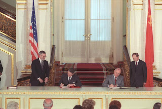 C47449-17, President Reagan and Soviet General Secretary Gorbachev signing the INF treaty ratification at the Grand Kremlin palace during the Moscow Summit. 6/1/88. Courtesy Ronald Reagan Library