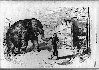 Uncle Sam warning elephant, Credit Line: Library of Congress, Prints & Photographs Division, [reproduction number, LC-USZ62-57787]