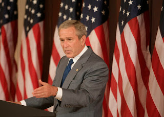 President George W. Bush emphasizes a point as he makes remarks during at briefing Tuesday, June 26, 2007, in the Eisenhower Executive Office Building, on comprehensive immigration reform. White House photo by Joyce N. Boghosian