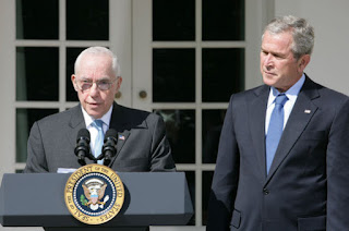 President George W. Bush listens to remarks by Judge Michael Mukasey after announcing his nomination Monday, Sept. 17, 2007, in the Rose Garden, to be the 81st Attorney General of the United States . In thanking the President, Judge Mukasey said, 'The department faces challenges vastly different from those it faced when I was an assistant U.S. attorney 35 years ago. But the principles that guide the department remain the same -- to pursue justice by enforcing the law with unswerving fidelity to the Constitution.' White House photo by Chris Greenberg