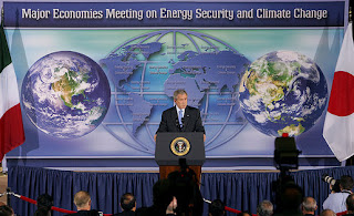 President George W. Bush addresses the Major Economies Meeting on Energy Security and Climate Change Friday, Sept. 28, 2007, at the U.S. State Department. 'The nations in this room have special responsibilities,' said the President. 'We represent the world's major economies, we are major users of energy, and we have the resources and knowledge base to develop clean energy technologies.' White House photo by Chris Greenberg