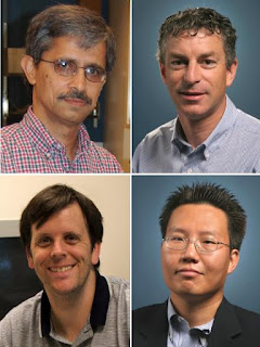 Caption: UCR engineers involved in the research project. Clockwise from top left: Ashok Mulchandani (pricipal investigator of the grant), Marc Deshusses, Nosang Myung and David Cocker. Credit: Bourns College of Engineering, UC Riverside. Usage Restrictions: None.