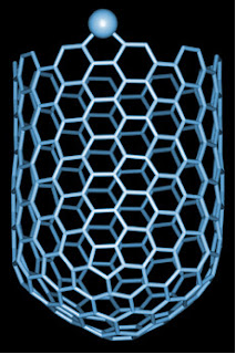 Thousands of times smaller than the average human hair, carbon nanotubes are extremely long and thin yet strong, making them a key nanotechnology structure. Credit: NASA Ames Research Center.