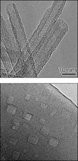 Transmission electron micrographs of nanocavity-filled titanium oxide nanorods (bottom) and iron-doped titanate nanotubes (top). Both are being investigated as photocatalysts for reactions to produce hydrogen gas. The improved light-absorption of the nanocavity-filled nanorods also makes them ideal new materials for sunscreen