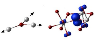 Caption: On the left is an Illustration of the displacement of hafnium atoms (white) in the structure of hafnium oxide to accommodate the presence of the self-trapped hole in the oxygen atom (red). On the right is the quantum mechanics view of the probability of finding a hole near certain atoms (larger blue structures represent higher probability). Credit: London Centre for Nanotechnology. Usage Restrictions: None