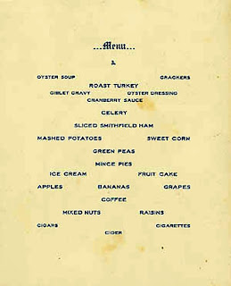 Thanksgiving Dinner Menu, U.S.S. Kentucky