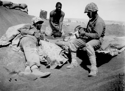 Negro Marines on the beach at Iwo Jima