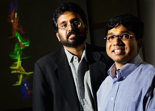 Narayana R. Aluru, professor of mechanical science and engineering, left, and doctoral student Sony Joseph