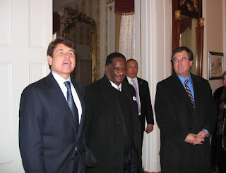 Rod Blagojevich, Emil Jones and Jeffrey Schoenberg at Illinois Executive Mansion
