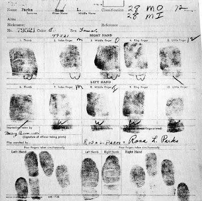 Fingerprint Card of Rosa Parks