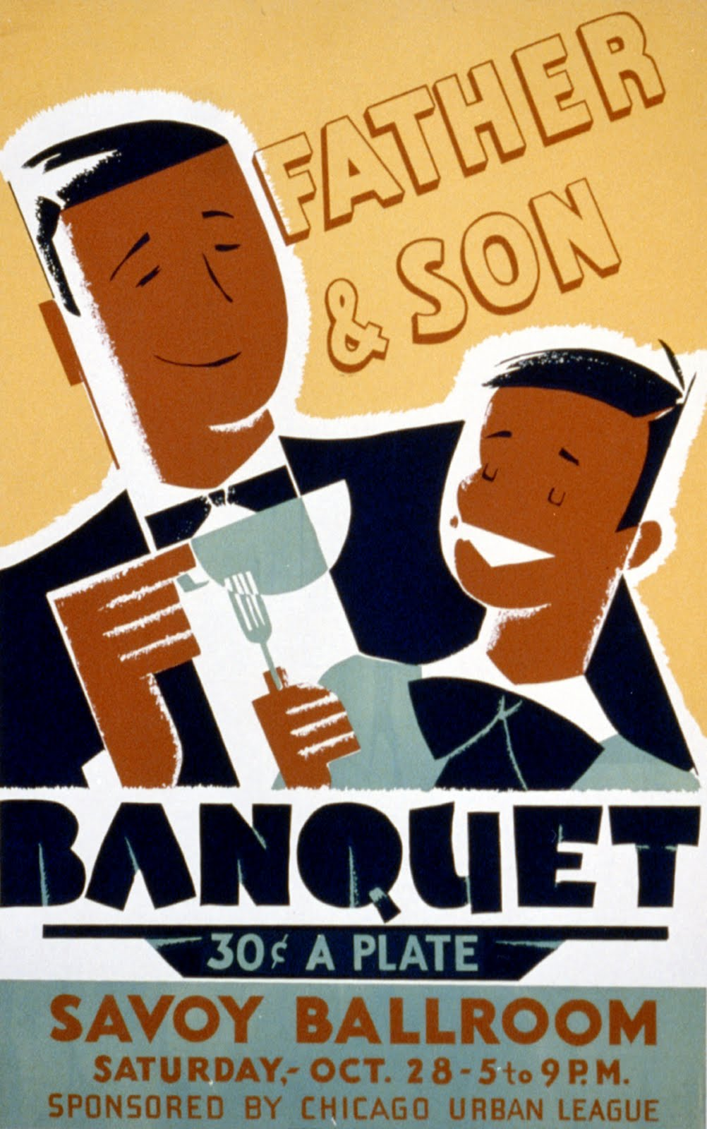 African American Father and Son Banquet Poster