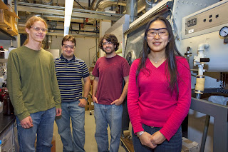 Berkeley researchers including (from left) Kari Thorkelsson, Alexander Mastroianni, Benjamin Rancatore and Ting Xu