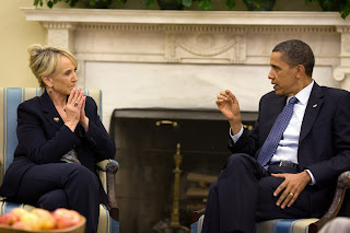 President Barack Obama meets with Arizona Gov. Jan Brewer