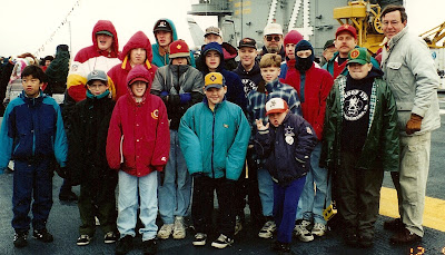 BSA Troop 170 on the flight deck, 9 Dec 1995