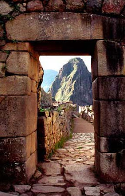 The gate at Machu Picchu, Peru