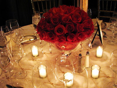 stylish rose centerpieces in three different colors and two different